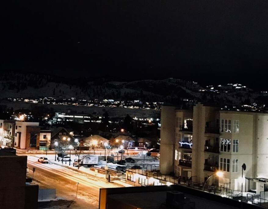Patio winter night view.