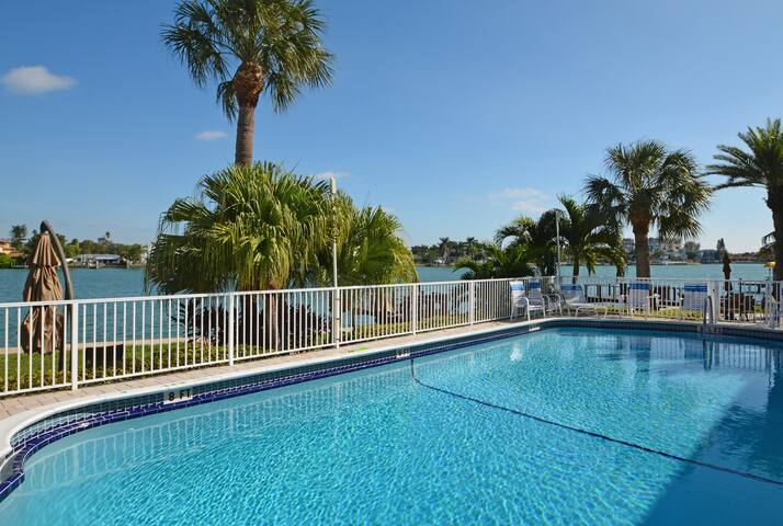 Heated Pool looking out over Boca Ciega Bay