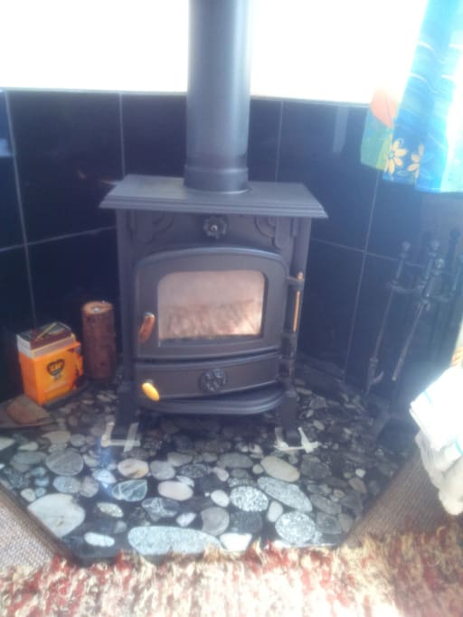 Wood burning stove for chilly days and evenings.