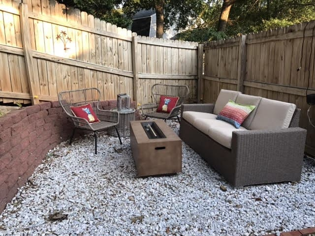 Enjoy a night on the patio with the new gas fireplace and s'mores from our stocked kitchen.