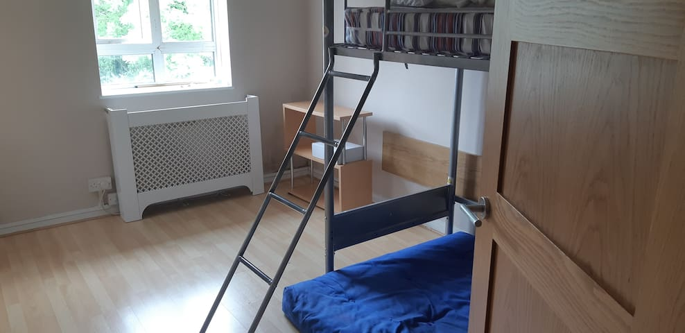 Comfy room for 3 with bunk bed in modern apartment