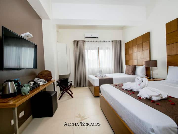 Aloha Boracay Hotel, 2 queen bed w/ Breakfast