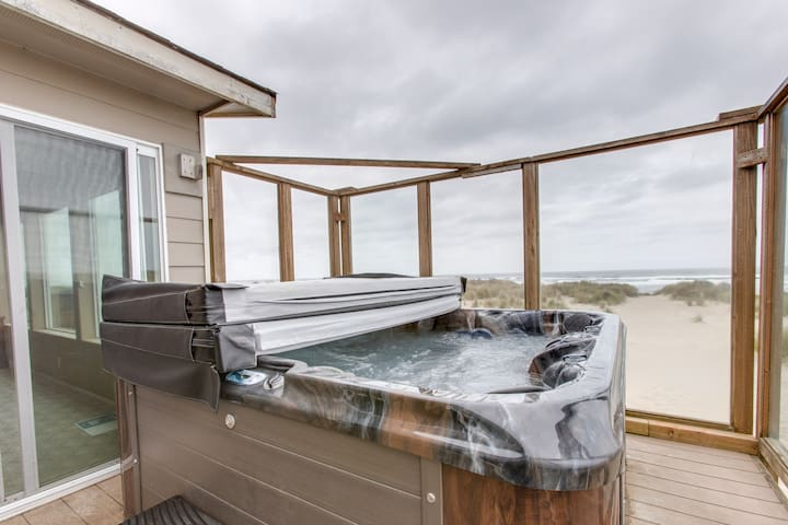 Dog-friendly, beachfront home w/ great views, shared pool & private hot tub!