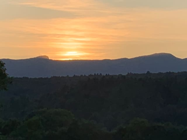 View from the deck of Sunset behind Mt. Mansfield