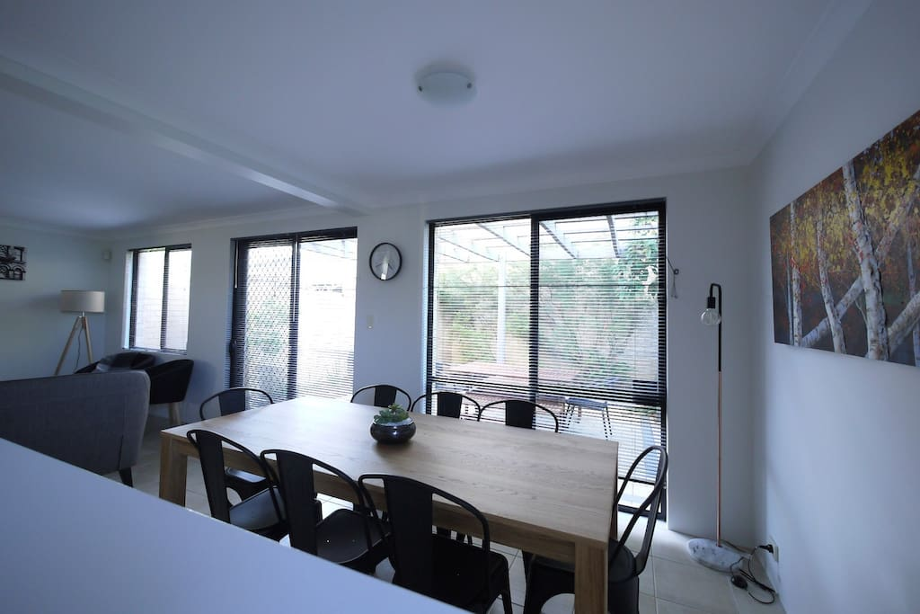 Dining area with seating for 8 people.