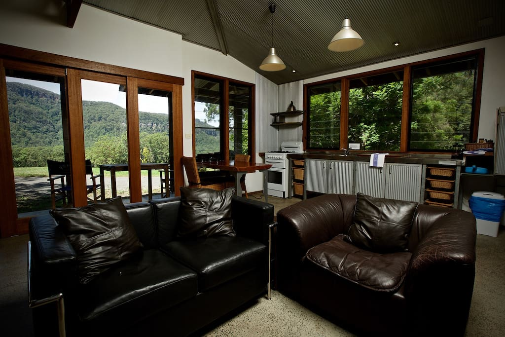 Living room with views right out over Kangaroo Valley