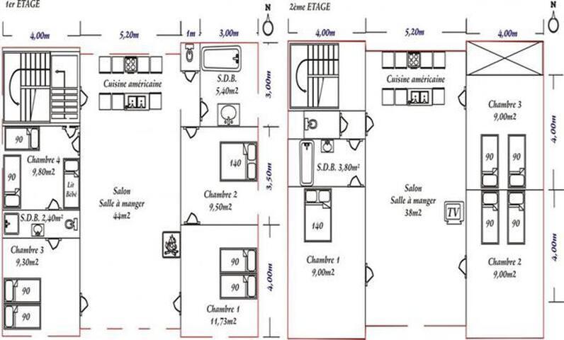 Plan de la Baronnie (1er et 2ième étage)