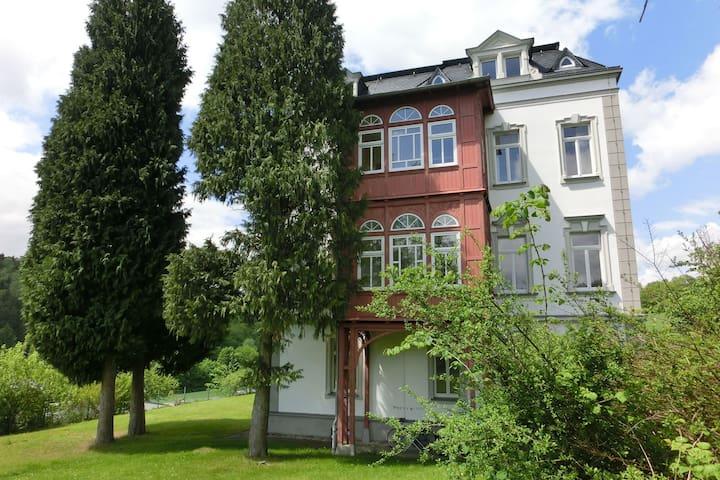 Große Ferienwohnung in einer Villa mit Garten in Borstendorf