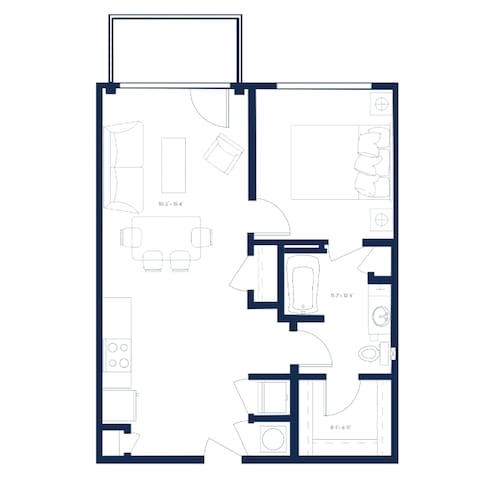 This is the blueprint layout from the building. My apartment is a bit bigger than this actually layout. Mine is about 740sq ft.