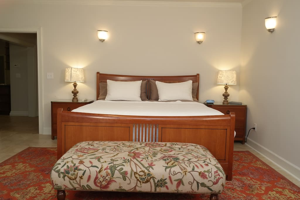 The king bed is huge! Matching nightstands and charging stations are available too!