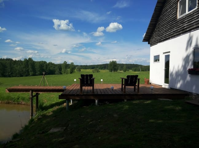Room, terrace, barbeQ in Countryhouse. Kaķukalns.