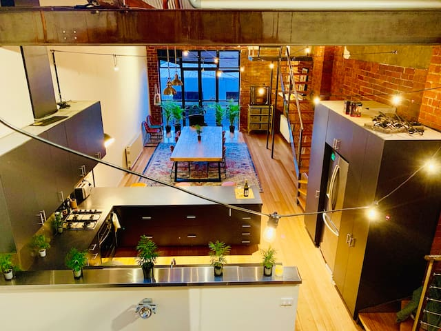 Bedroom in 4-Level Loft Warehouse near Chapel St