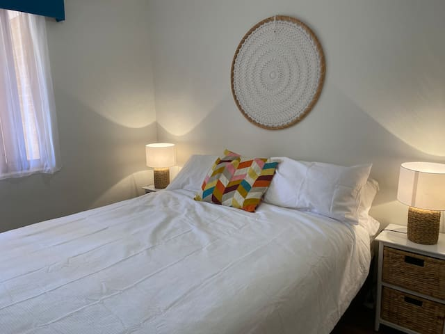 Minor bedrooms (still queen sized) in separate area of the house for privacy for groups of guests. Cozy and comfy for relaxed holiday sleepins!