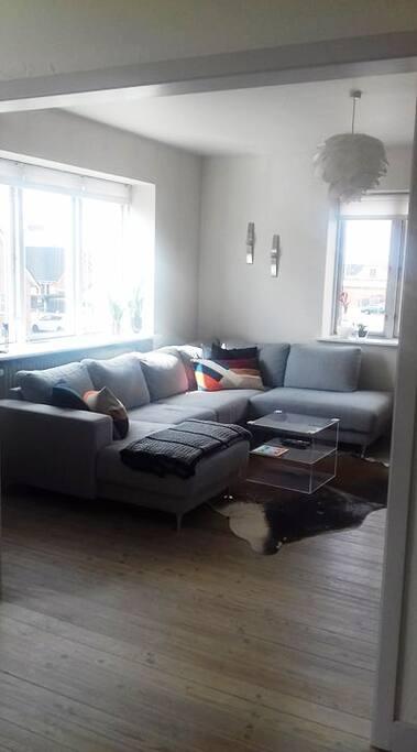 """Opholdsstue med u-sofa og 50"""" fladskærm"""