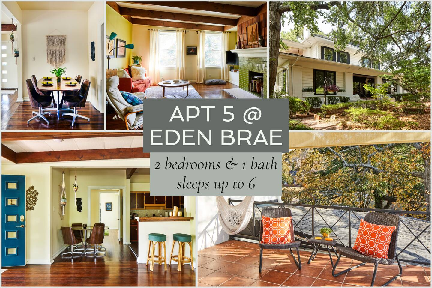 Step back in time in this retro, earthy, one-of-a-kind apartment in Eden Brae, a southern gothic mansion. Stylish and modern, you'll love the open kitchen and living room as well as the apartment's private patio with a hammock chair. Pet-friendly.