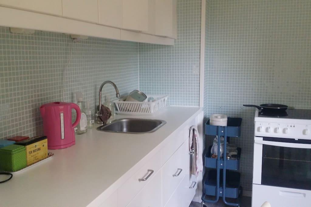 kitchen with tea, kettle, toaster