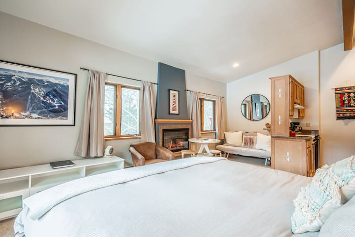 Skier's Studio, Fireplace & Kitchen – Walk to Lift
