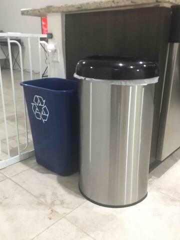 Recycle Bin and Regular trash bin.