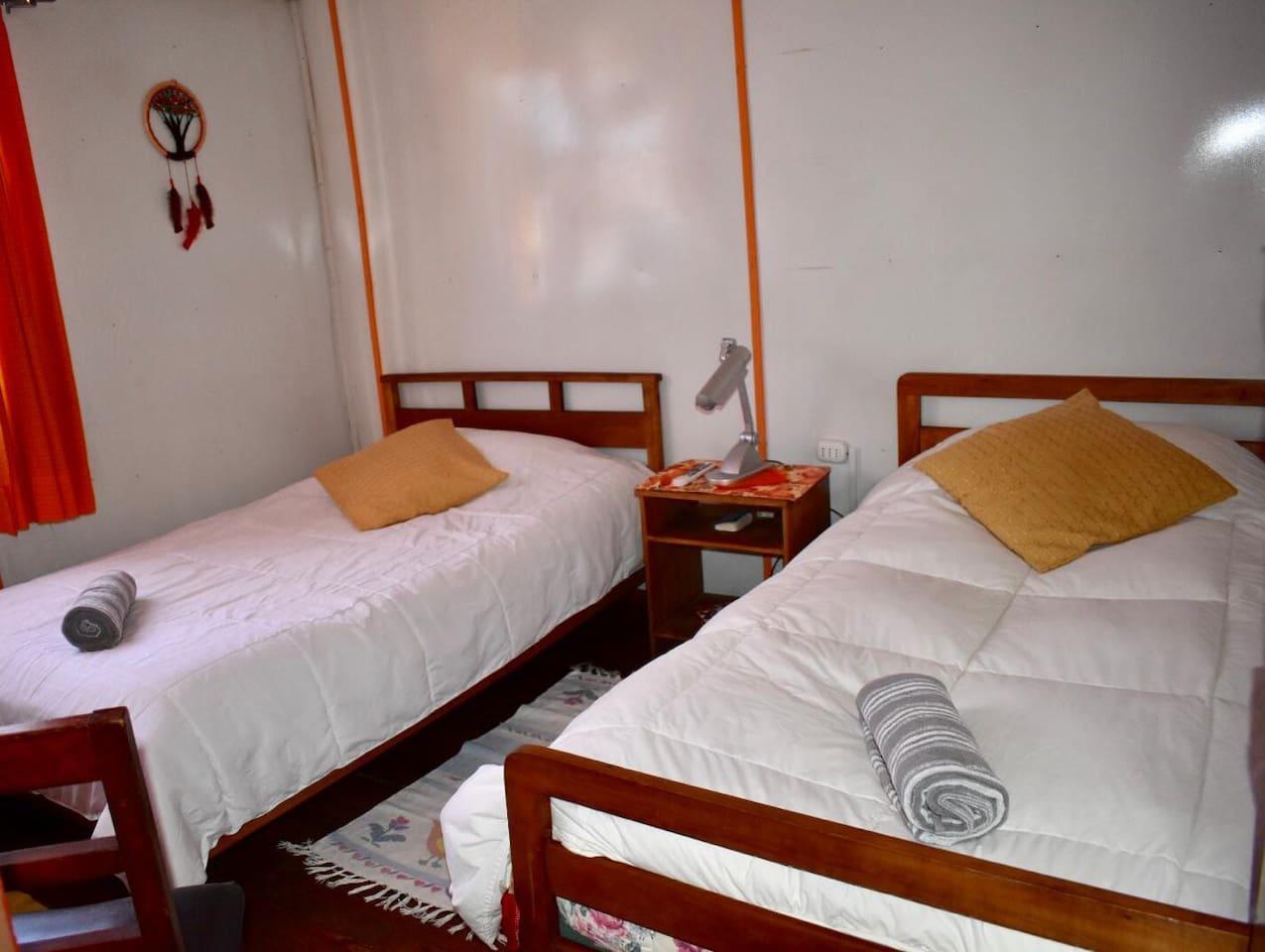 Habitación 2 pasajeros en camas individuales. Baño compartido. Incluye: Desayuno, wifi y tv cable.