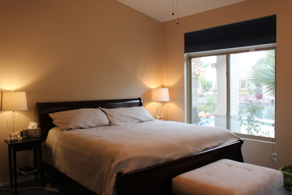 The master bedroom with a King sized bed.
