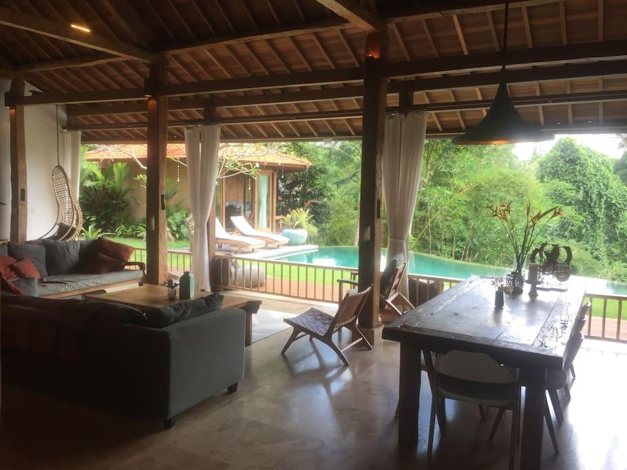 Open plan living space with no doors.. true indoor out door living