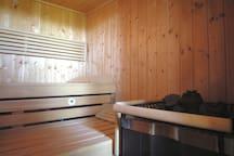 Sauna in abete scandinavo e stufa sanarium con corrimano