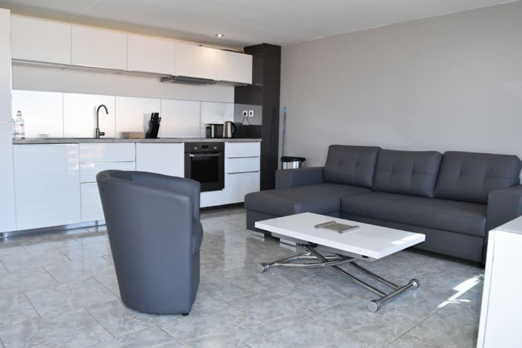 Vaste pièce Climatisée, avec canapé d'angle convertible et table basse convertible en table haute pour 6 personnes
