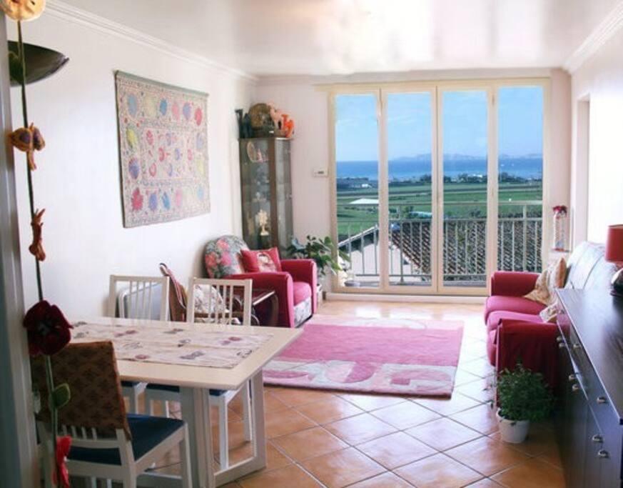 séjour/salon face a la mer avec balcon vue panoramique sur Marseille sud