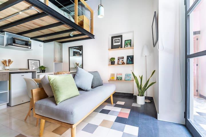 Loft compacto, terraza increíble, zona de Reforma