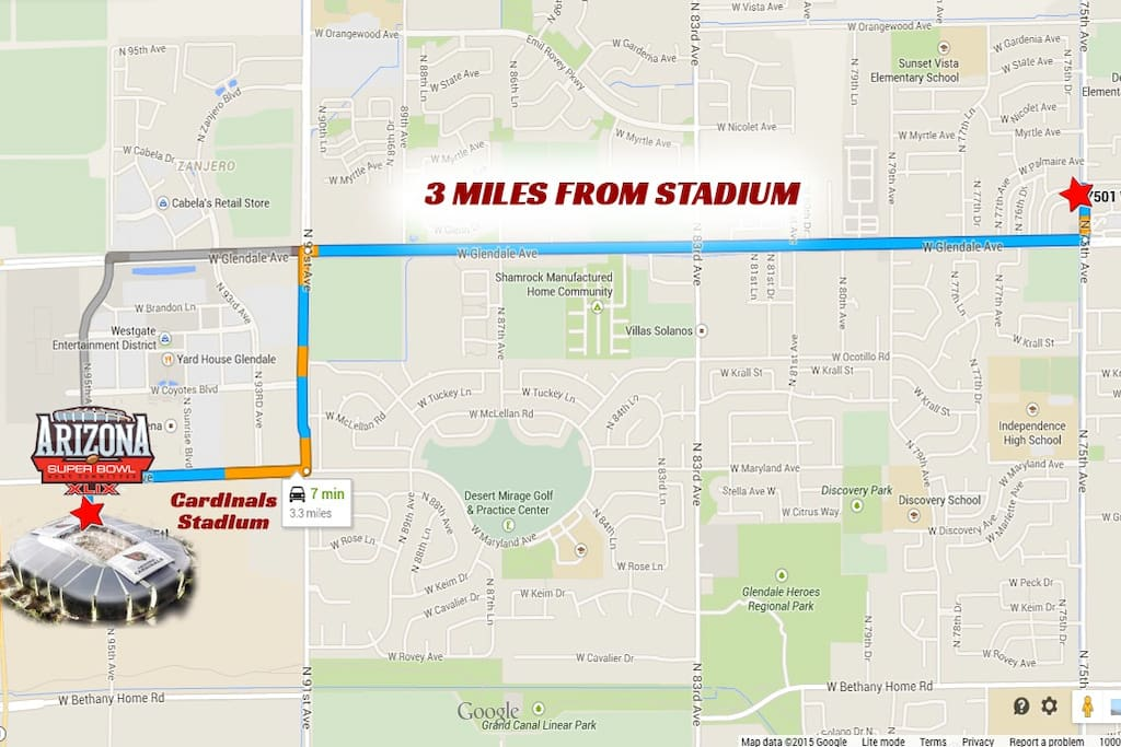 3.3 miles from the stadium - 7 minute car ride!