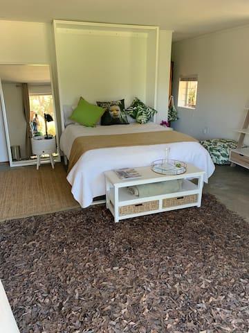 Views from modern garden apartment, creative, calm