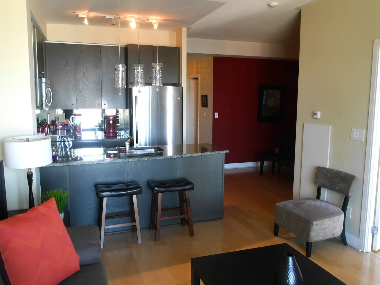 Spacious unit with hardwood floors throughout