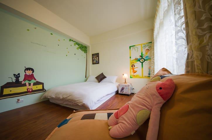 依楓民宿- 微風二人雅房(車站接送,浴室在房外,為房客獨立使用)