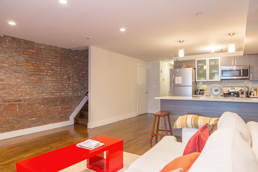 Exposed brick throughout the home