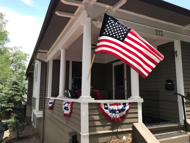 This is the front porch of the main house. The studio is situated to the rear of this side of the home.   4th of July is one of Prescott's favored seasons with parades, rodeos and lots of other attractions.