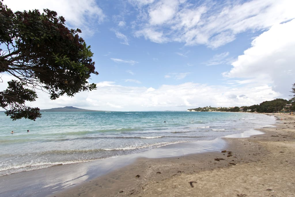 Takapuna Beach from the beachfront deck