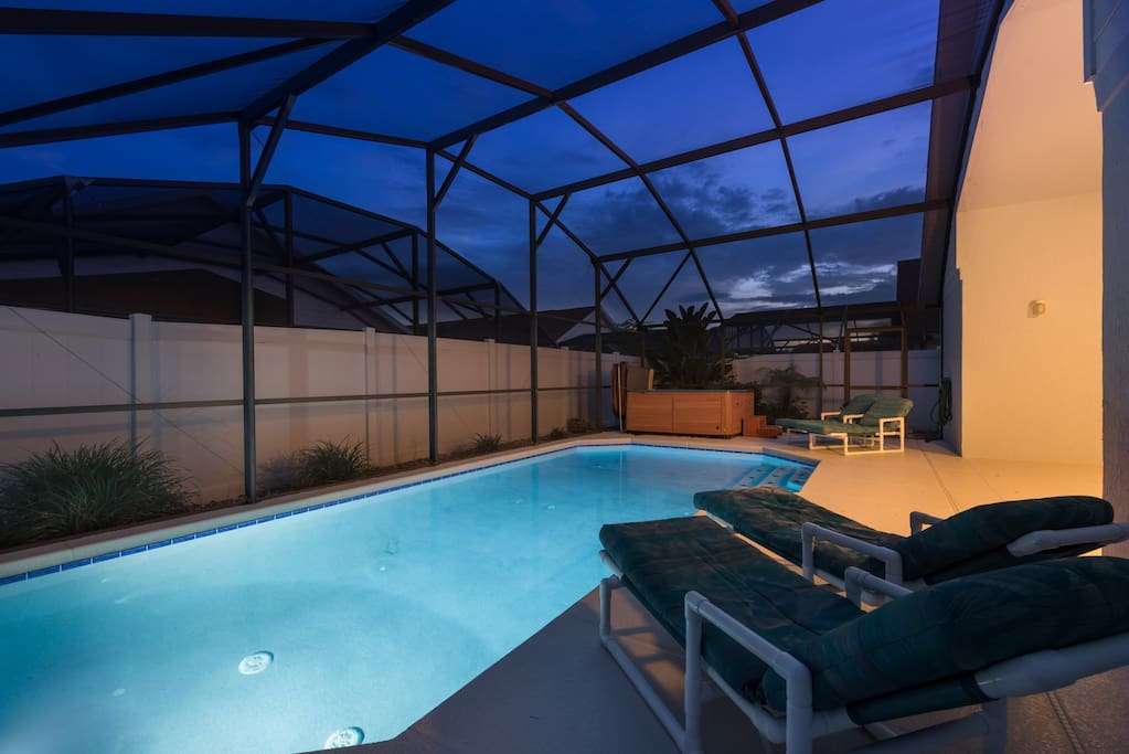 By night, the pool lighting lures you outdoors.