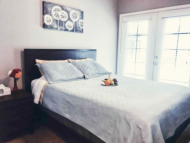 Master Bedroom - Includes super comfy new Queen-Sized Bed, large walk-in closet, night stand & night light, full-size dresser with large mirror. Extra towels, pillows, bedding, iron/ironing board, hangers & twin-sized air-mattress available in closet