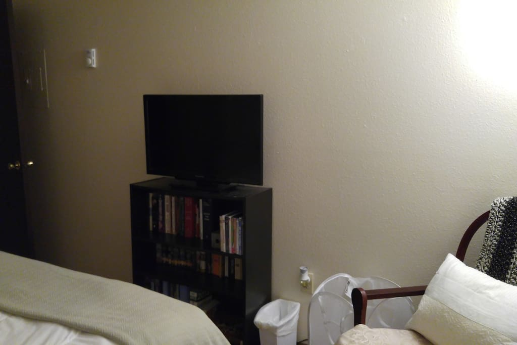 The room has a  TV and DVD player and there are several DVD's to watch. No cable.