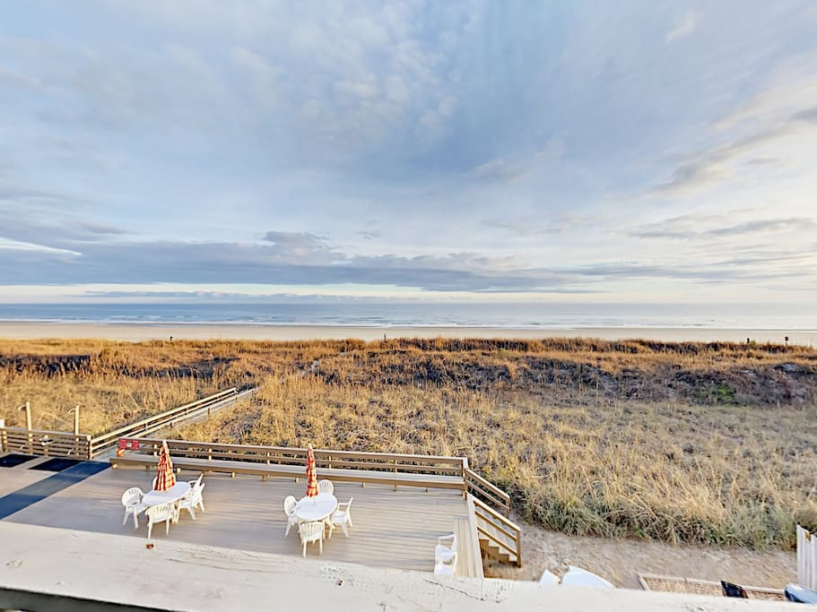 Take in ocean views from the shared sundeck.