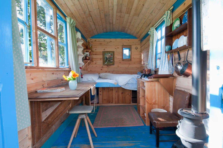 The inside of the lovely hut.