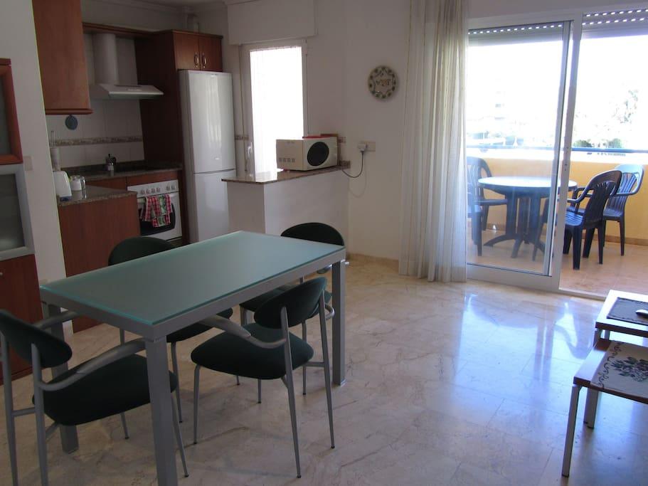 Salón-comedor, con cocina y terraza