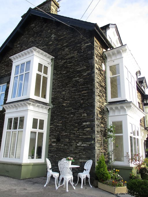 Side bay and front windows to Lakeland House by Lake Windermere.