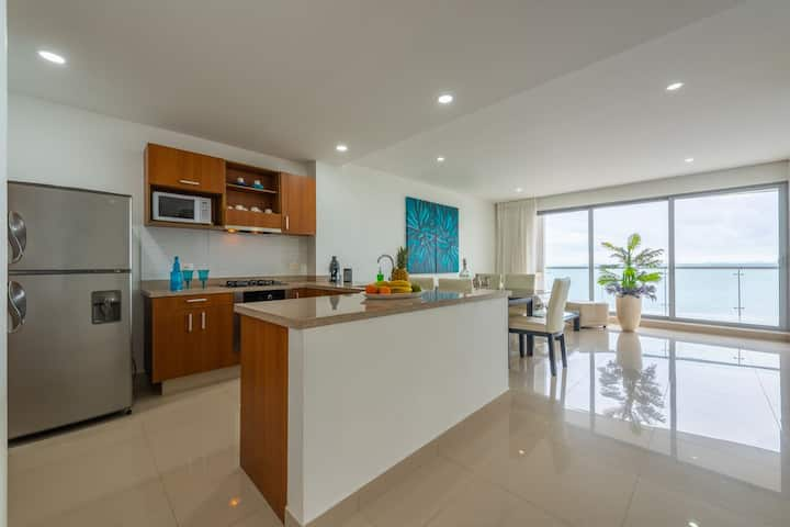 Quality sanitized apartment on the Caribbean Sea.