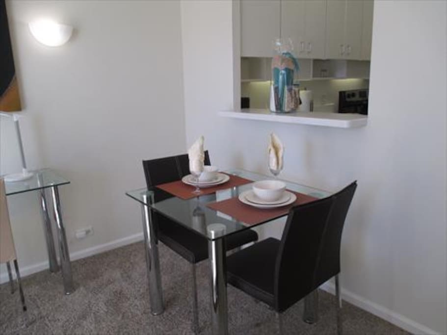 Dining area with seating for 2 where you can dine in comfort