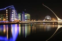 dublin docklands, 5 minutes away by luas (tram) which stops right outside apartment