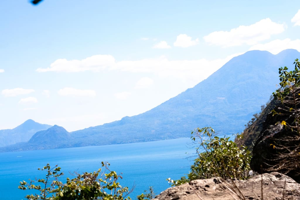 This is the view from the tent spot mango tree.   Lake Atitlan is so beautiful every day and there's something going on in the