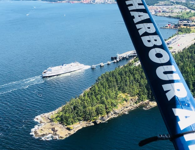 BC Ferry or Harbour Air will get you to the Treehouse on the Sunshine Coast