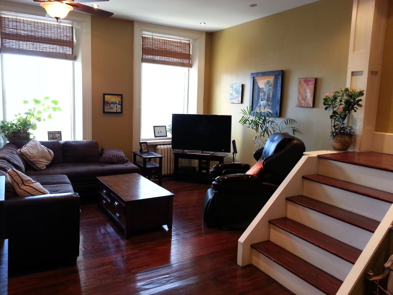 """Living Room area.  Excellent 50"""" Large HD Flat Screen TV."""