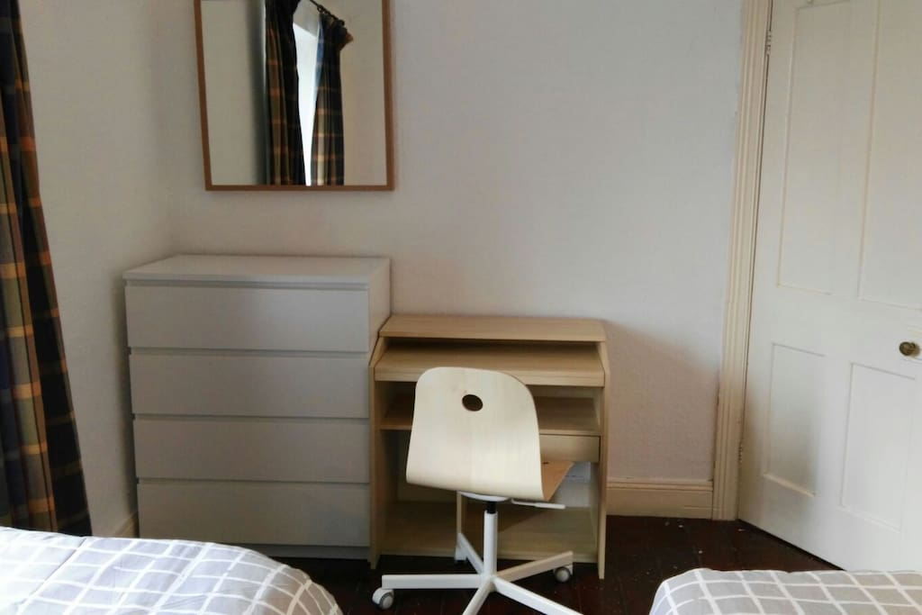Desk, Chest of drawers and mirror